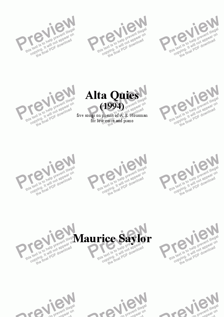 page one of Alta Quies (1994)