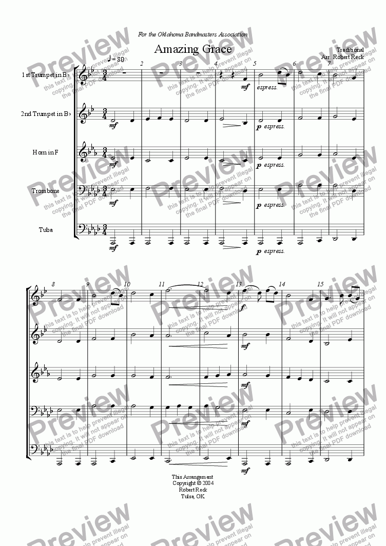 page one of Amazing Grace (Brass Quintet)