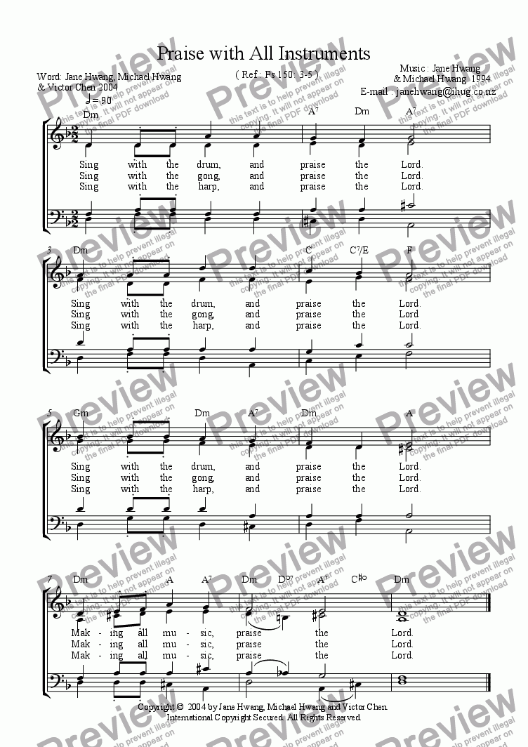 page one of Praise with All Instruments ( four-part )