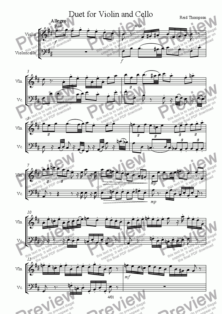 page one of Duet for violin and cello