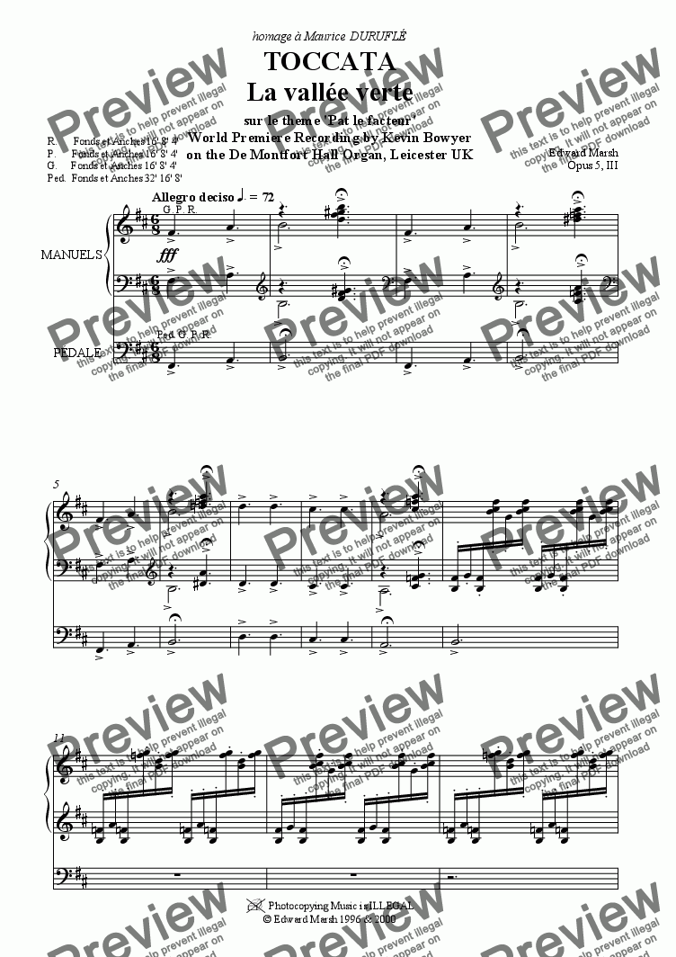 page one of Toccata pour Orgue