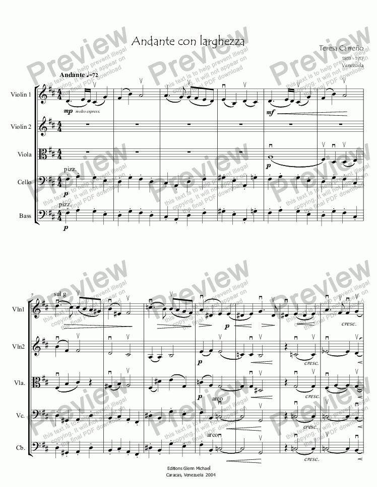 page one of Carreño, Andante con larghezza for strings