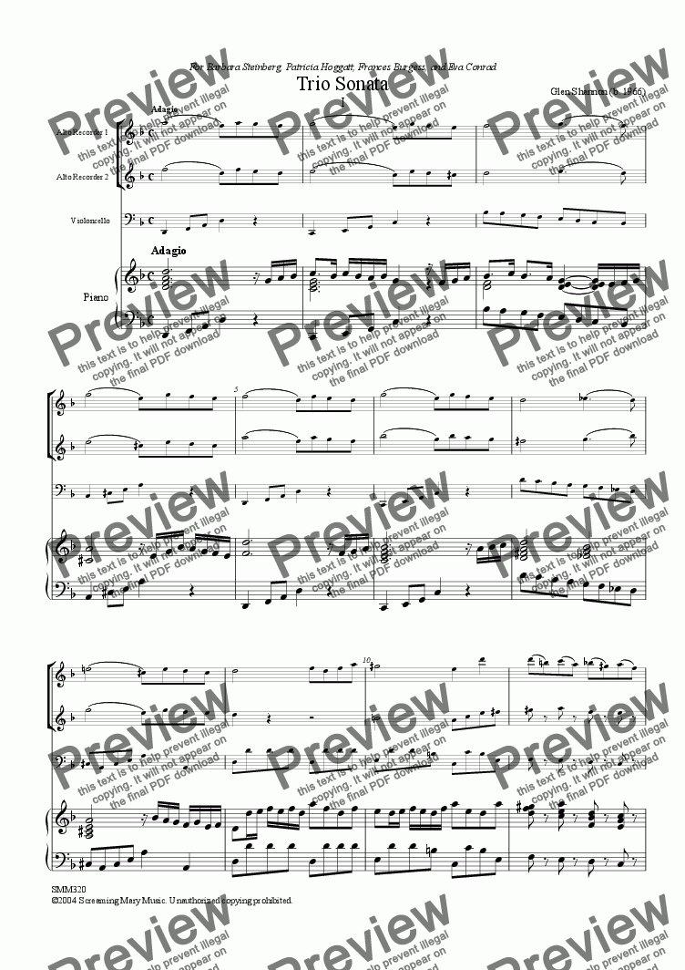 page one of Trio Sonata for Barbara Steinberg