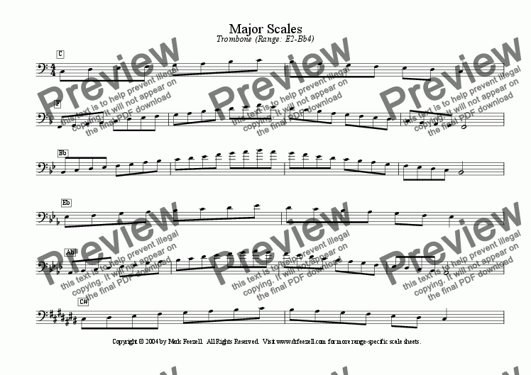 1 trombone traditional major natural minor scales sheet music pdf file