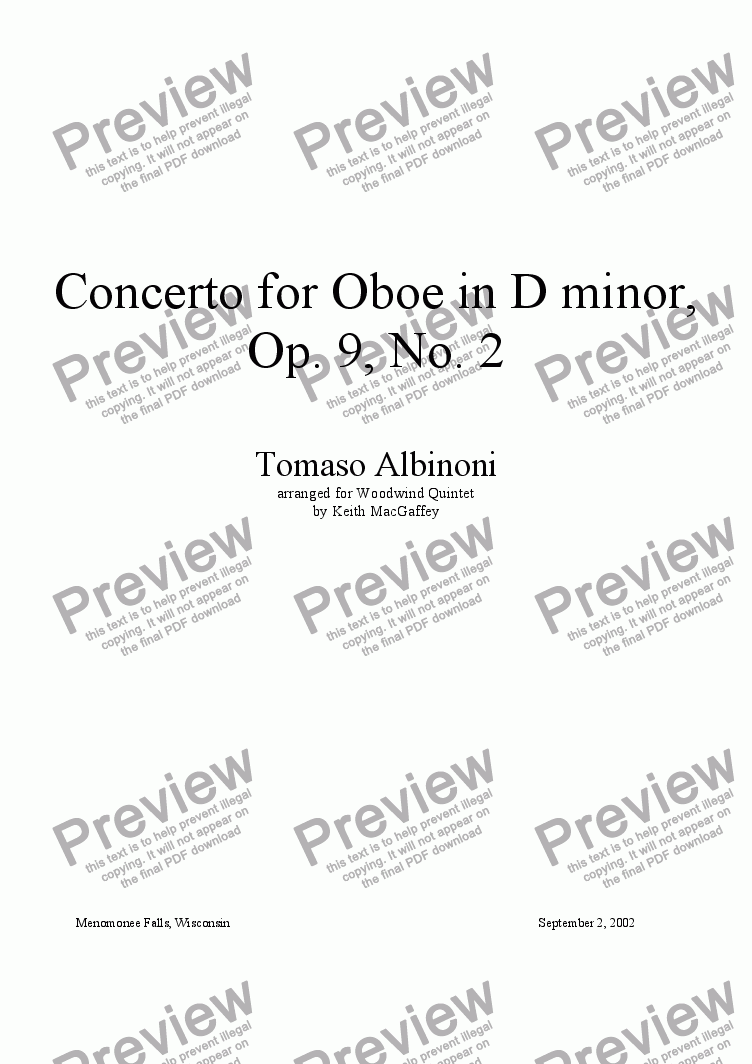 page one of Albinoni Concerto for Oboe, Opus 9, No. 2, I. Allegro. arr. by K. MacGaffey for wind quintet