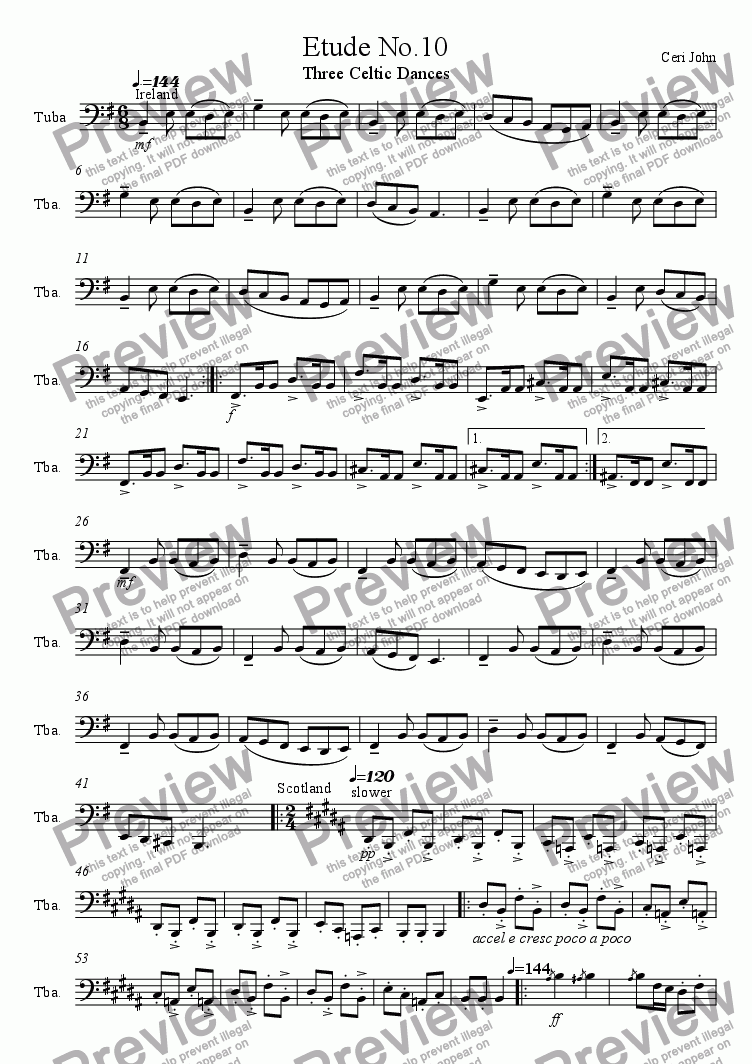 page one of Tuba Etude No.10