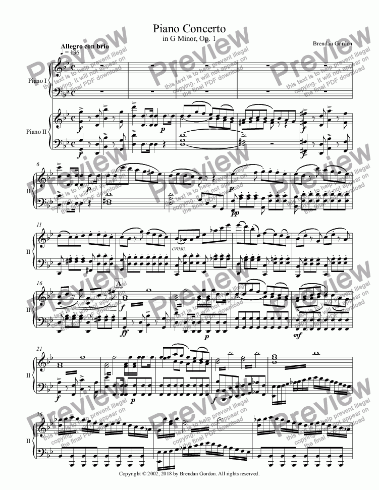 page one of Piano Concerto in G Minor (I) -- 2-Piano Study Score (being reworked)