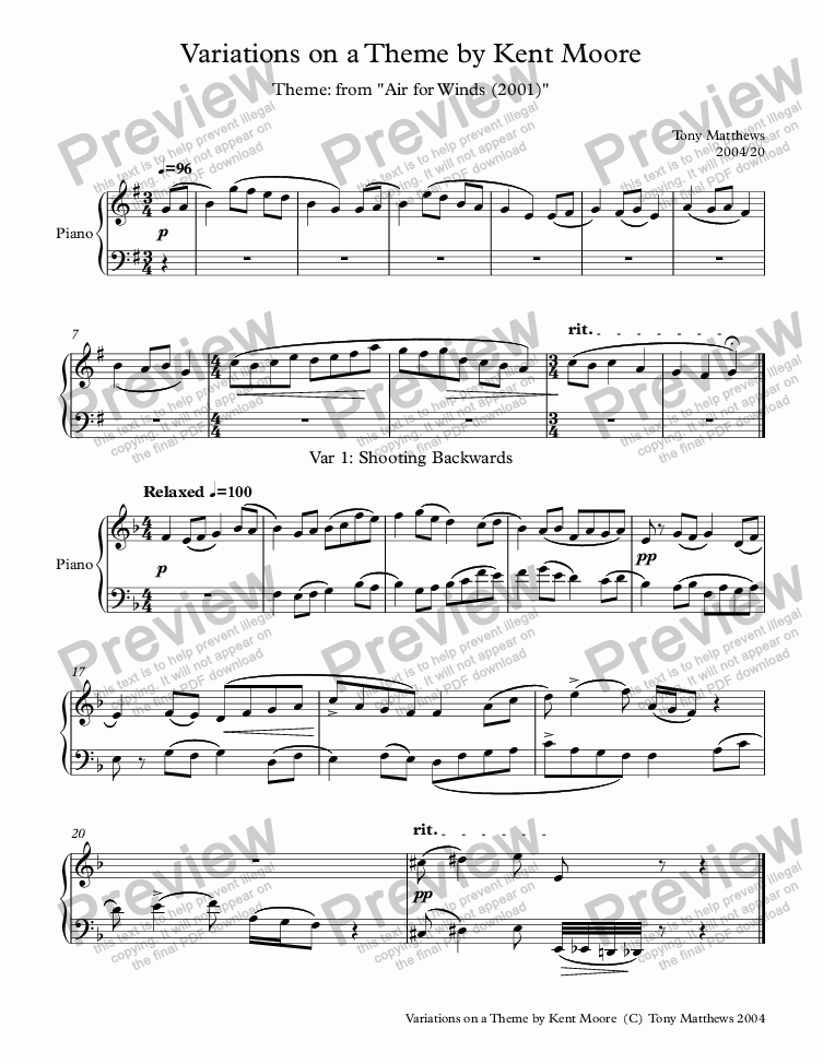 page one of Variations on a Theme by Kent Moore