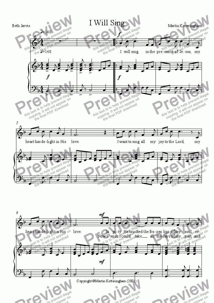 page one of I will Sing