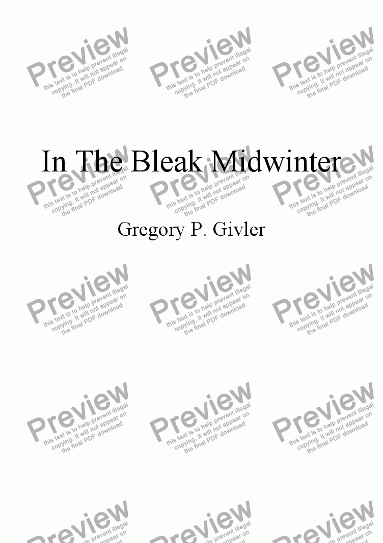 page one of In The Bleak Midwinter