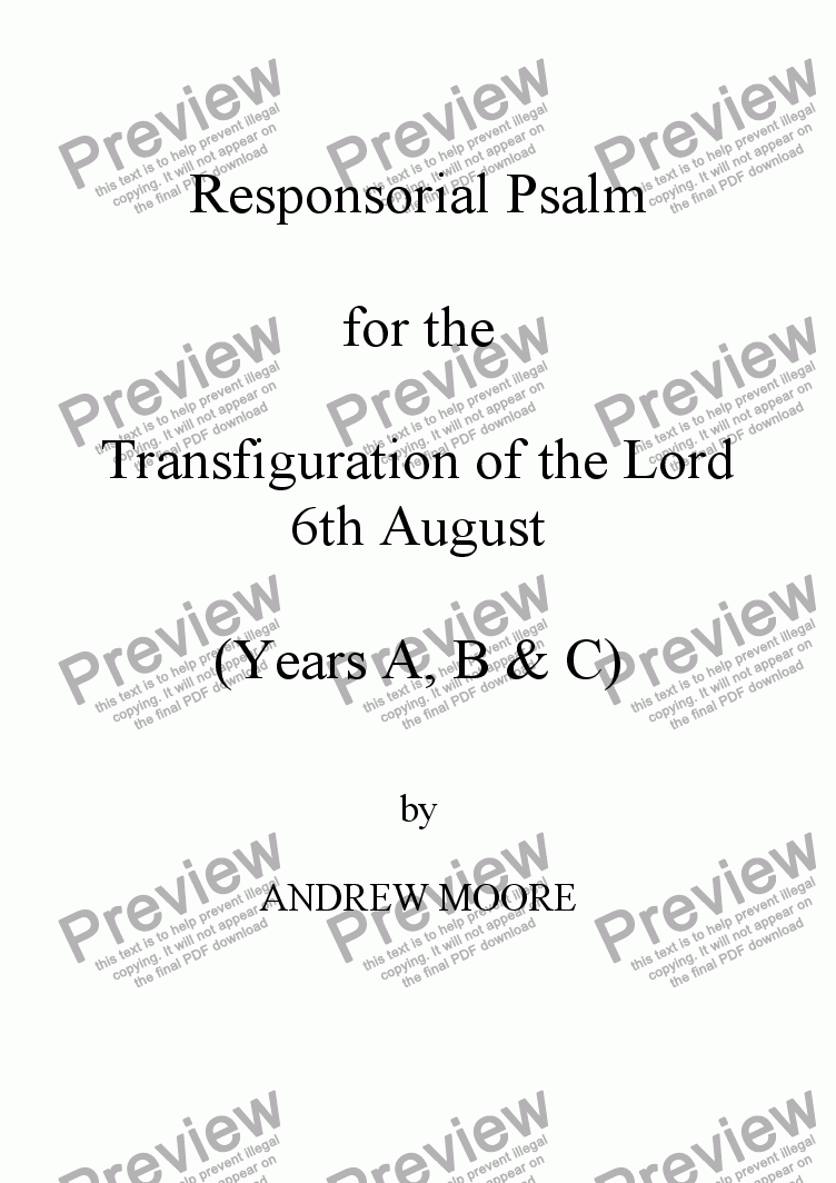 page one of The Transfiguration - 6th August (Year A)