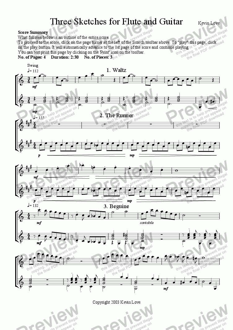 page one of 3 Sketches for Flute and Guitar