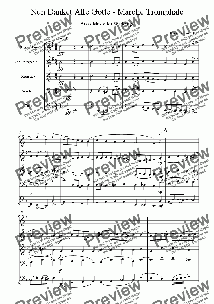 page one of Nun Danket Alle Gott - Brass Music for Weddings