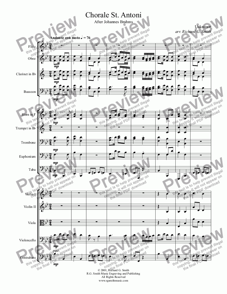 page one of Chorale St. Antoni