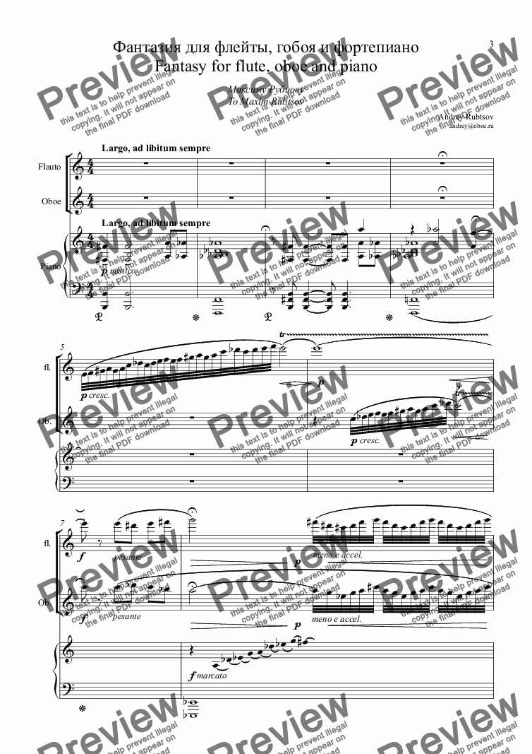 "page one of ""Marbella Fantasy"" for flute, oboe & piano"