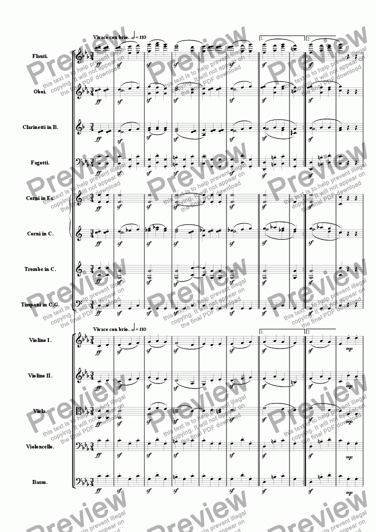 page one of Symphony One in E Minor: Movement 3ASALTTEXT