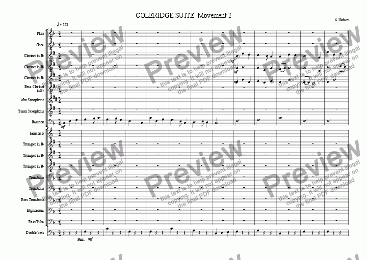 page one of Coleridge Suite (movement 2)
