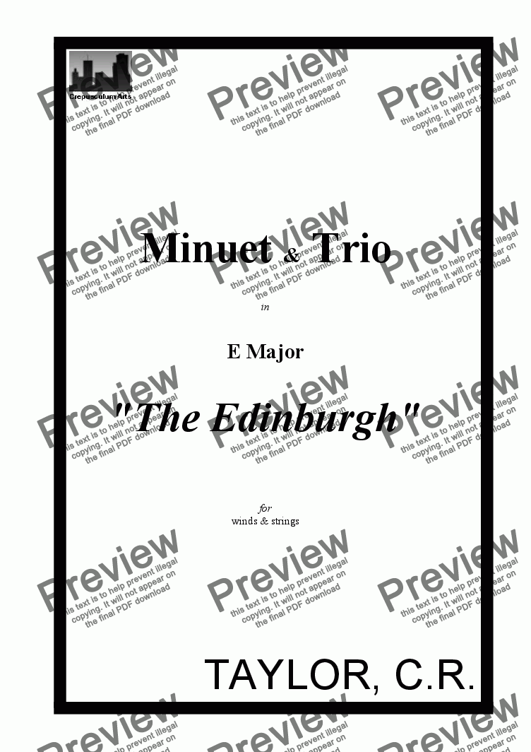 "page one of Minuet in E Major ""The Edinburgh"""