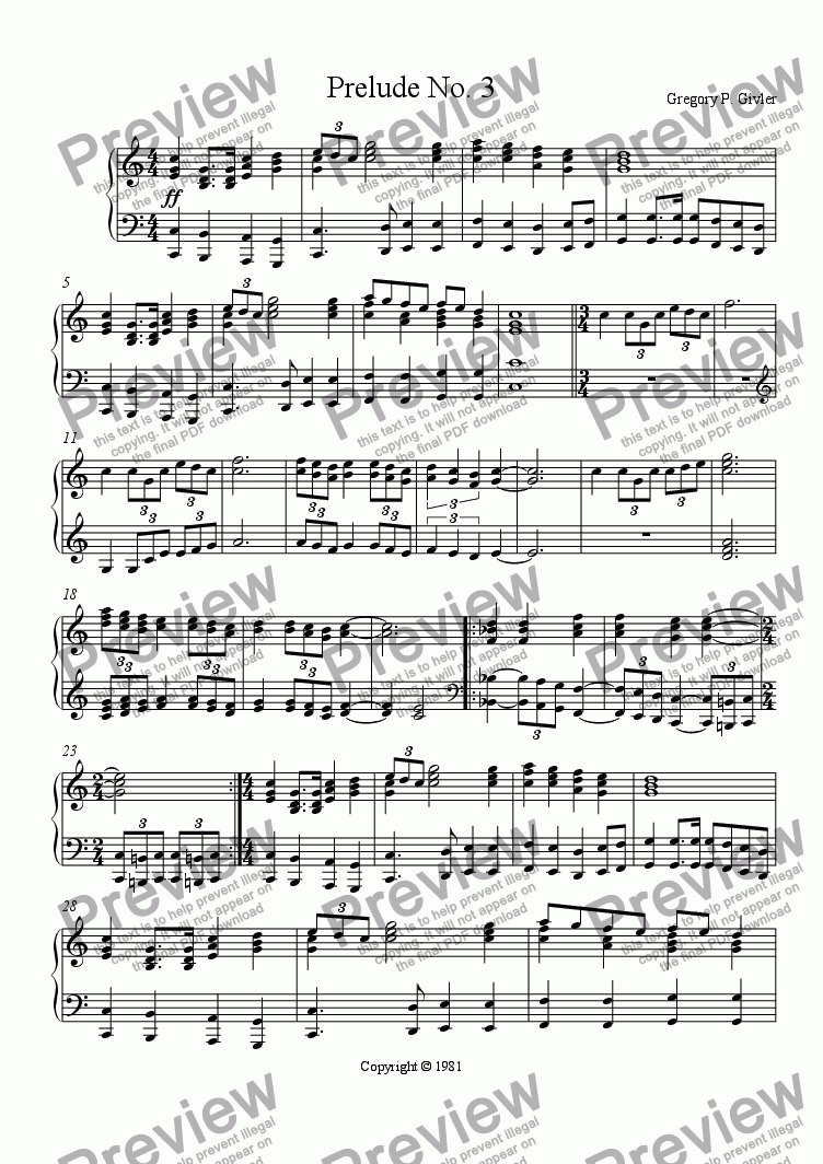 page one of Prelude No. 3