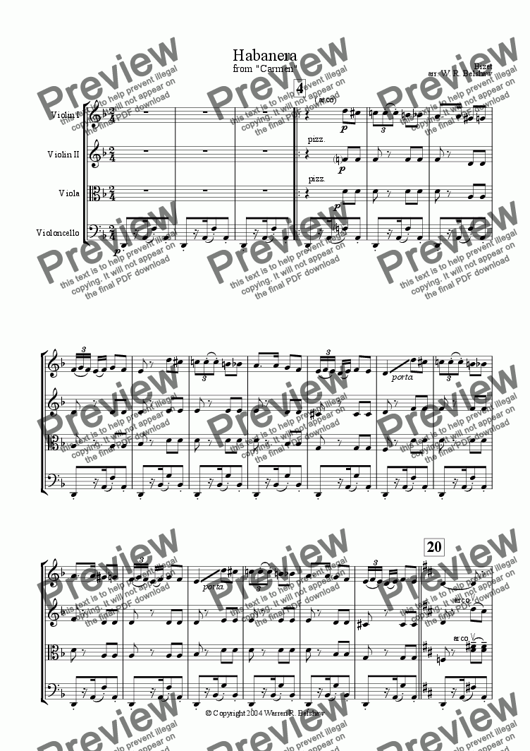 "page one of ""Habanera"" from Carmen"