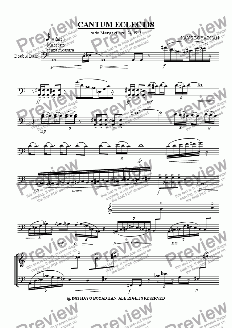 page one of Cantum Eclectis (solo double bass)
