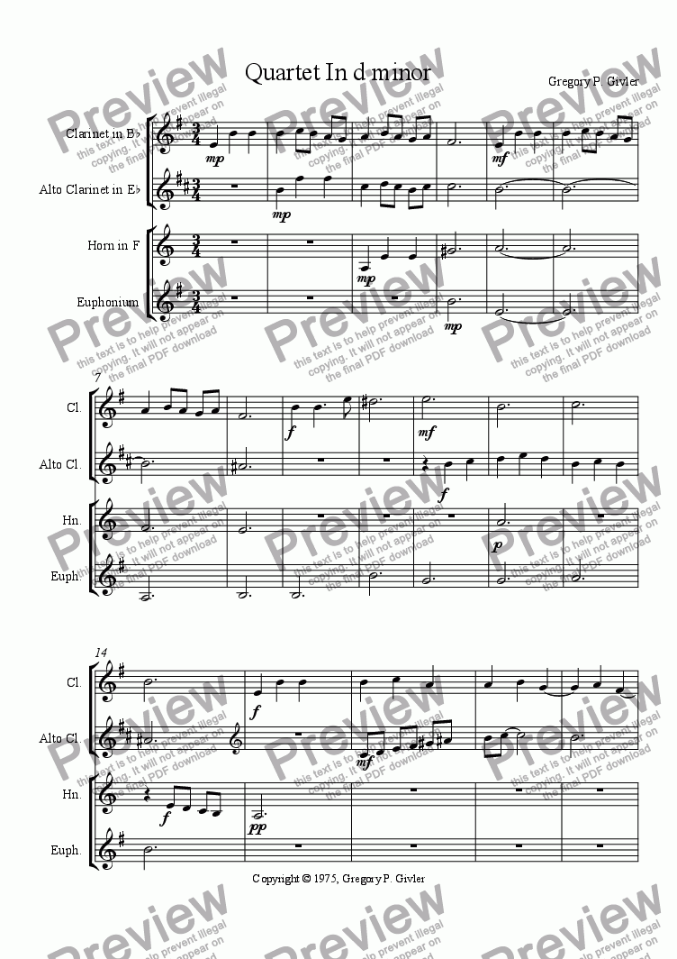 page one of Quartet In d minor