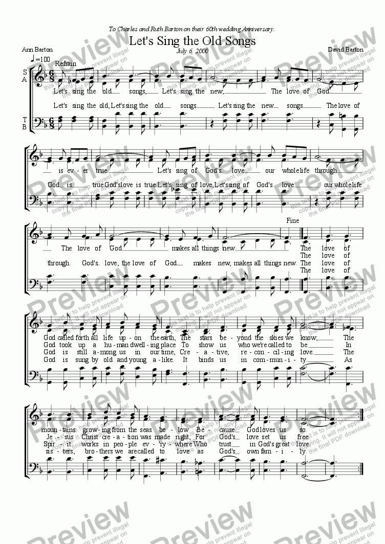 "page one of ""Let's Sing the Old Songs, Let's Sing the New"" - Gospel song"