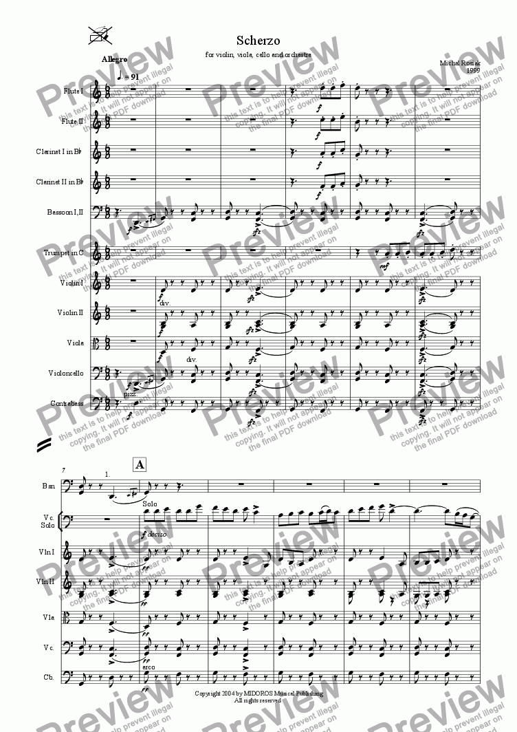 page one of Scherzo for Violin,Viola,Violoncello and OrchestraASALTTEXT