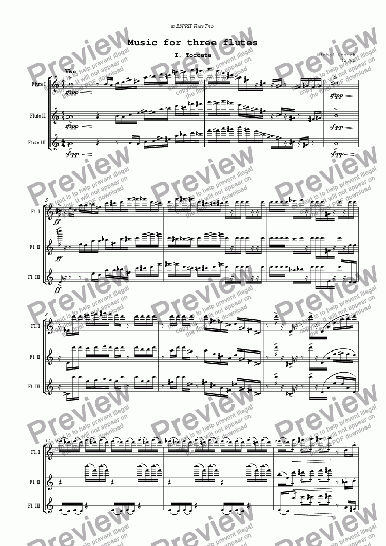 page one of Music for Three Flutes - ToccataASALTTEXT