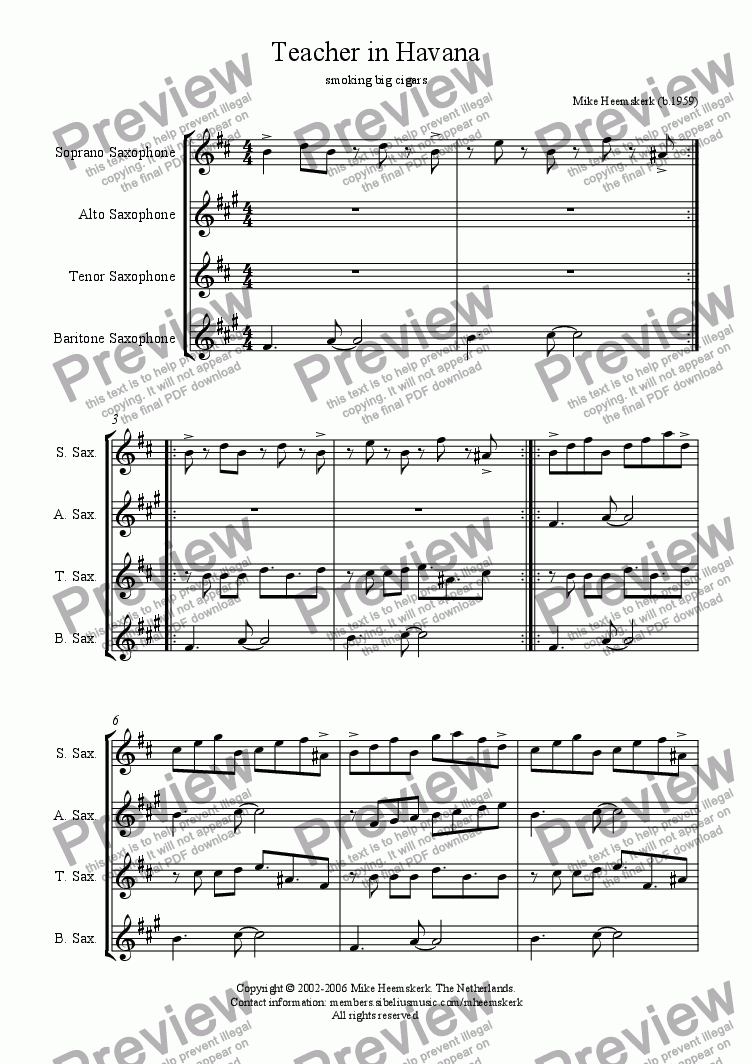 page one of Teacher in Havana (sax4tet)
