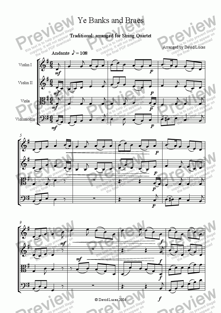 page one of Ye Banks and Braes for String Quartet