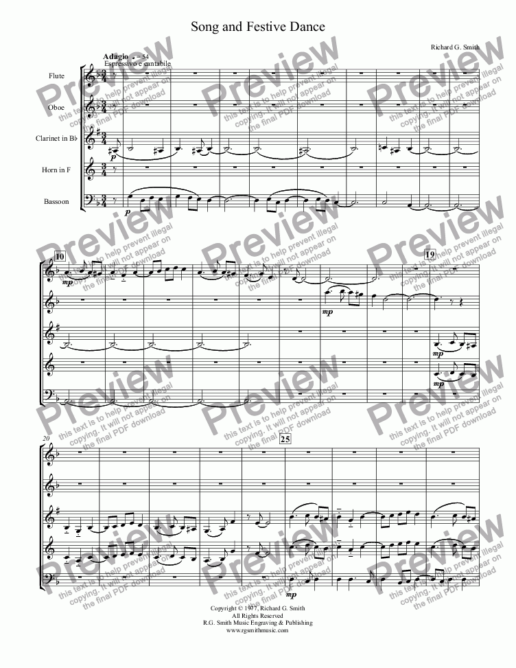 page one of Song and Festive Dance