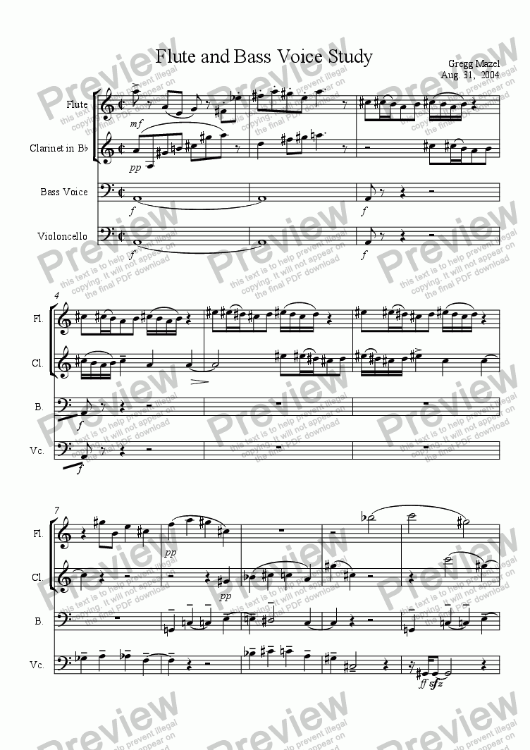 page one of Study for Bass Voice and Chamber EnsembleASALTTEXT