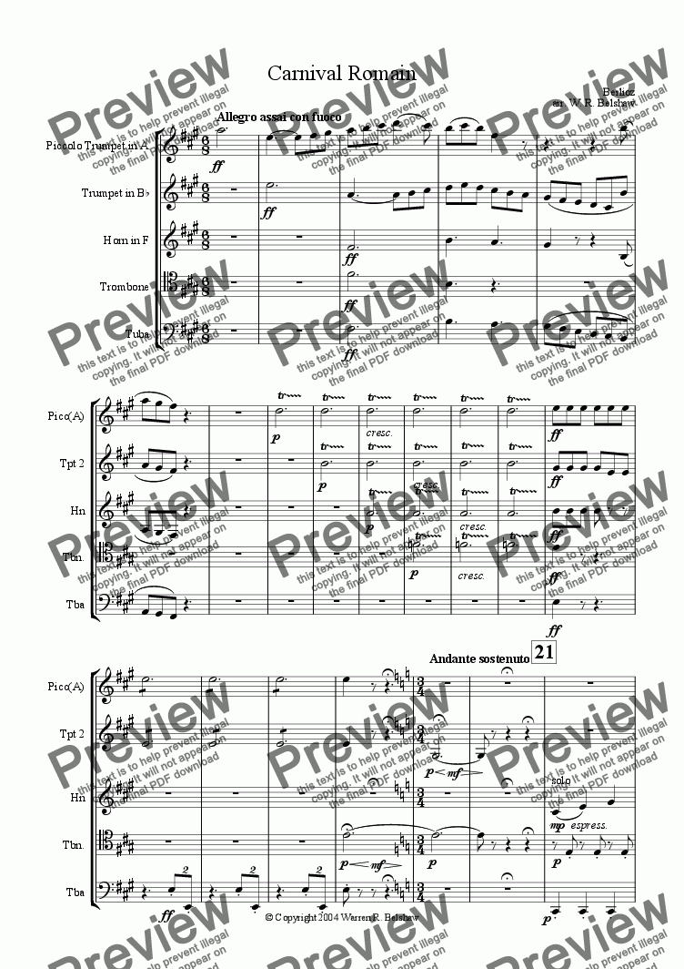 page one of Carnival Romain (for brass quintet)