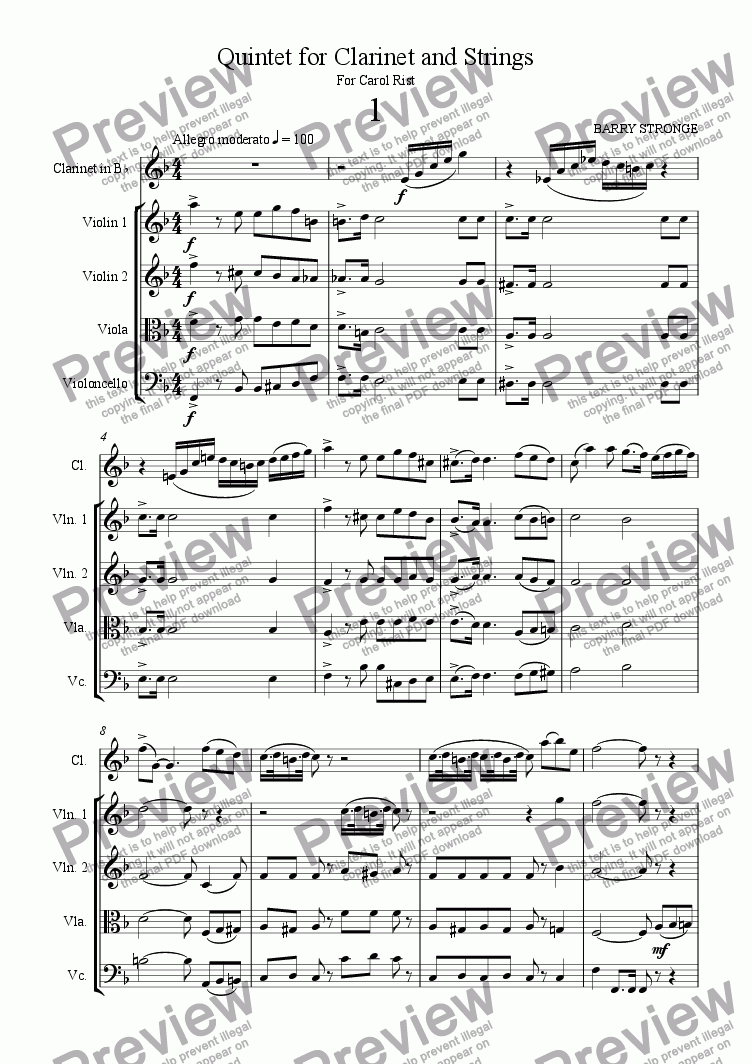 page one of Quintet for Clarinet and StringsASALTTEXT