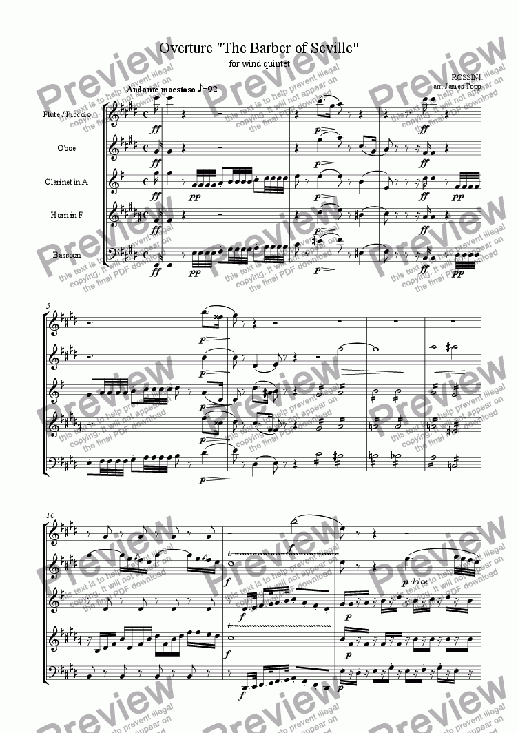 page one of Overture, Barber of SevilleASALTTEXT