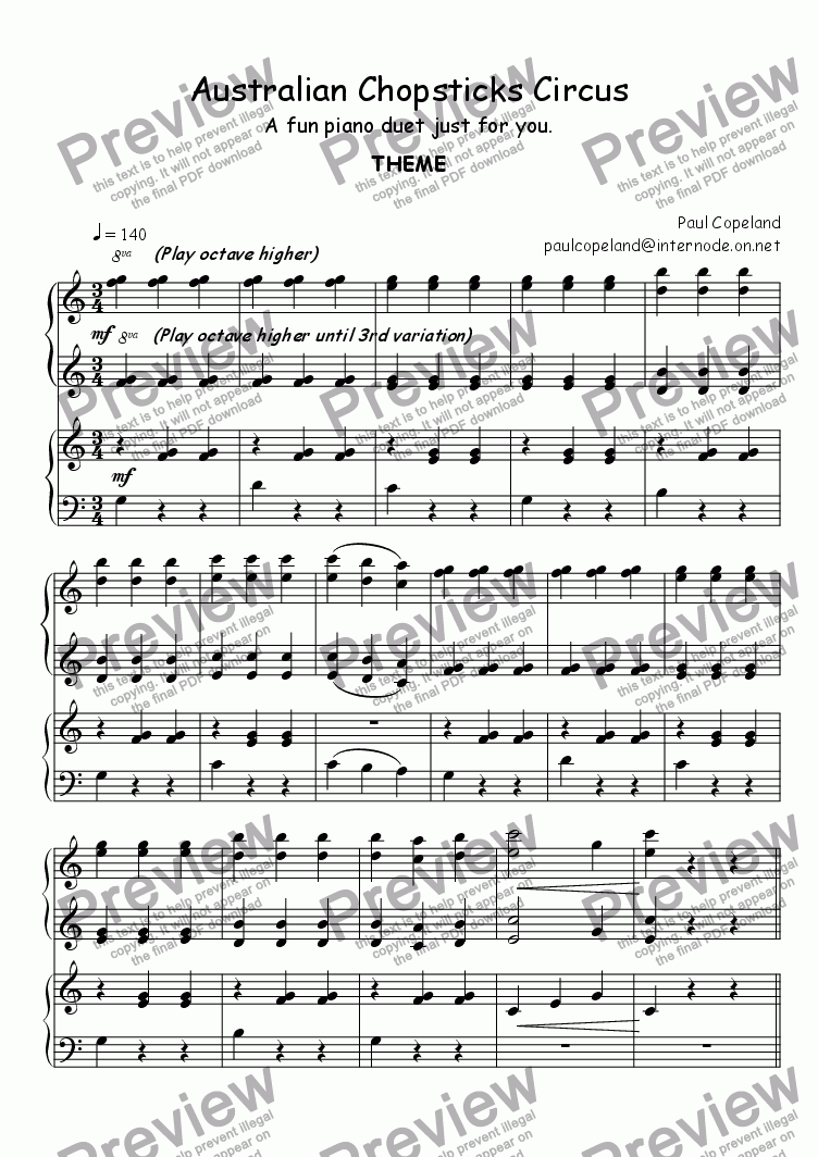 Australian Chopsticks Circus For Duet Of Pianos By Paul Copeland Sheet Music Pdf File To Download