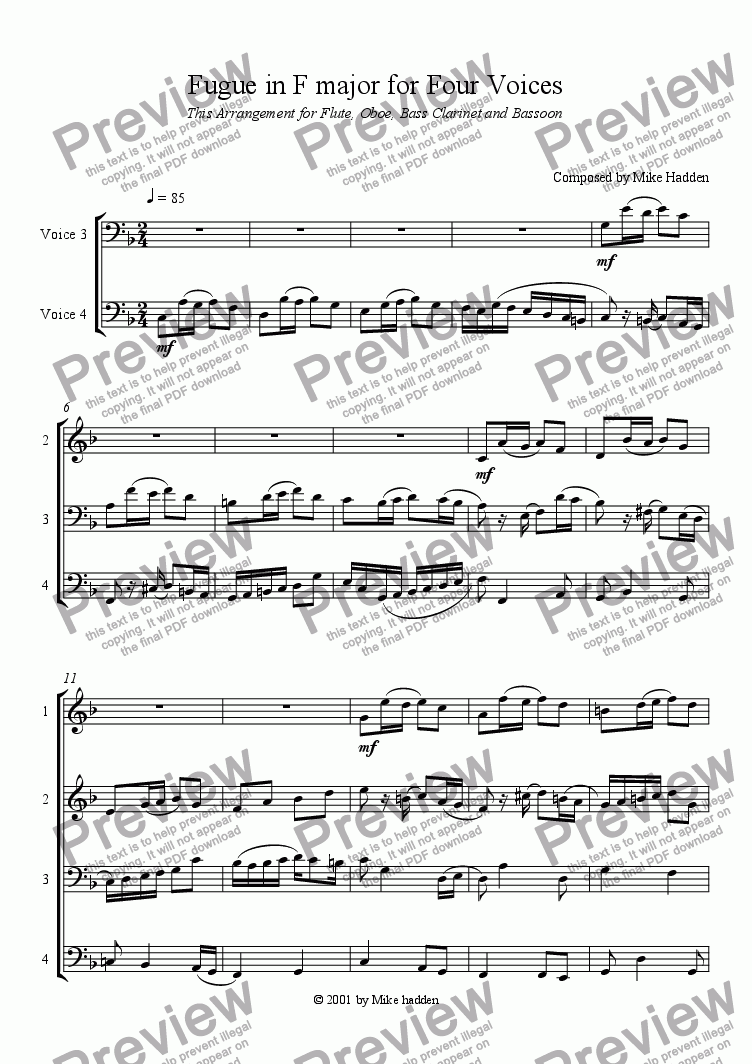 page one of Fugue in F major for Four Voices