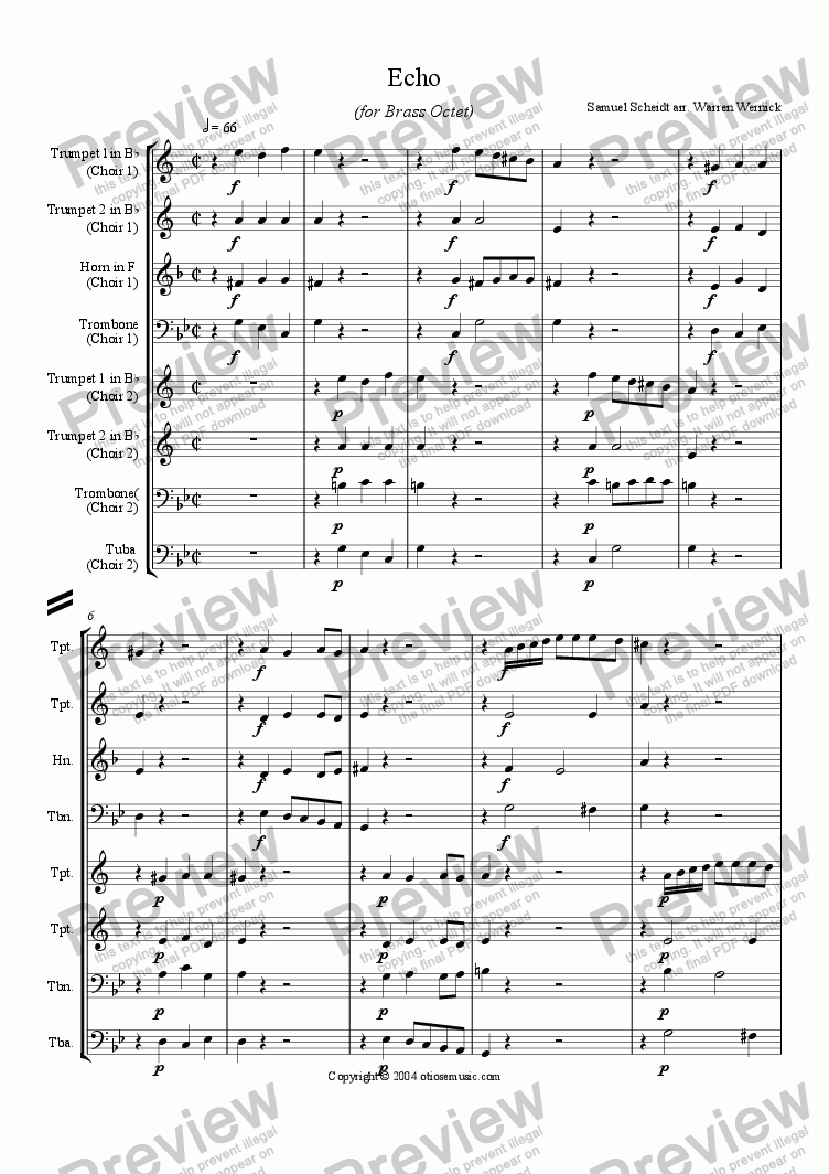 page one of Echo (for Brass Octet)
