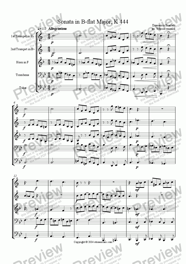 page one of Sonata in B-flat Major, K 444 for Brass Quintet