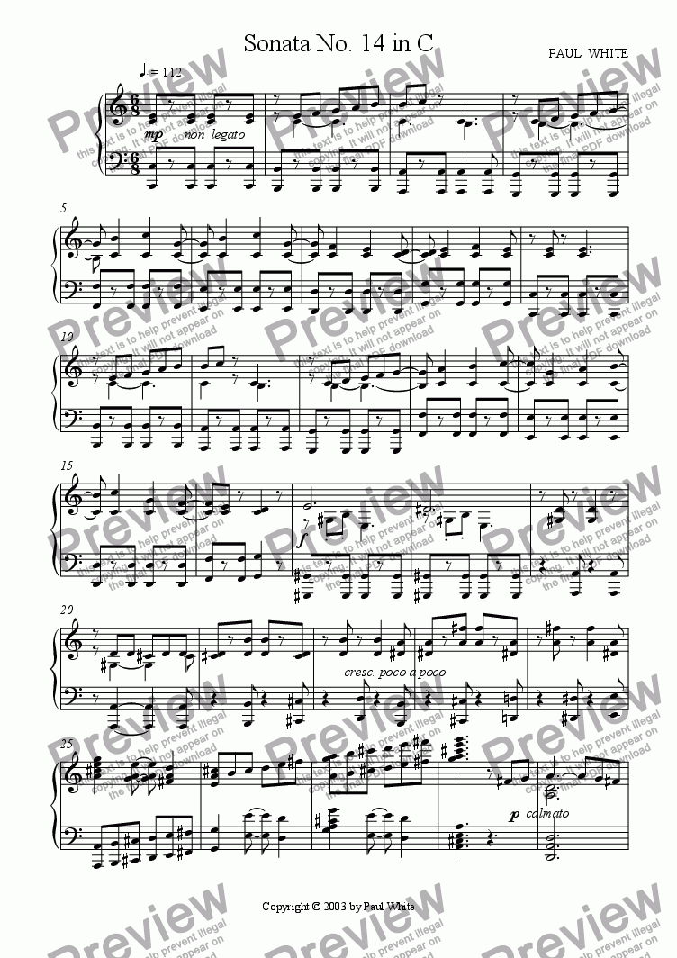 page one of Sonata No. 14 in C (Neoclassical)ASALTTEXT