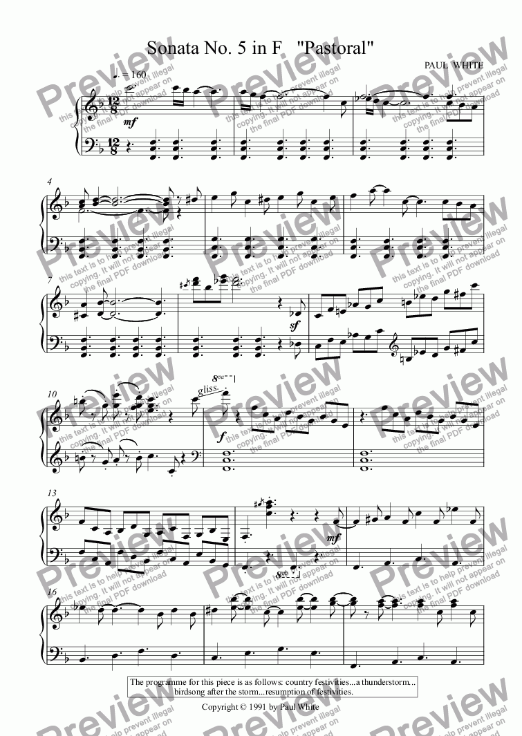 "page one of Sonata No. 5 in F   ""Pastoral"""