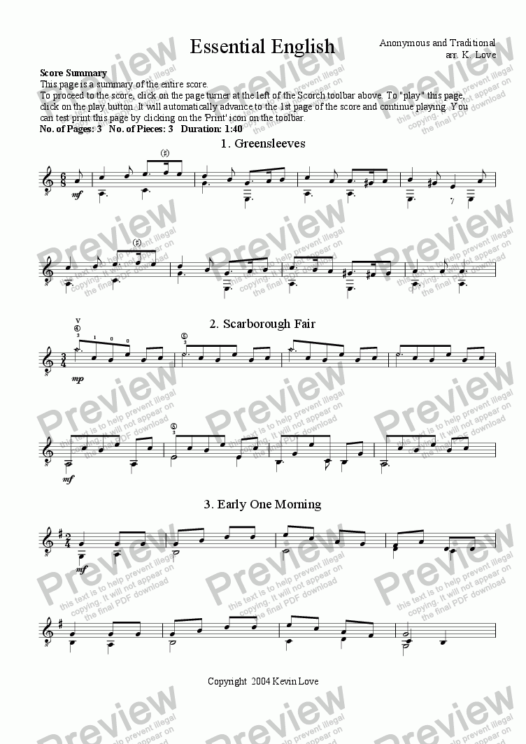 page one of Essential English (Greensleeves, Scarborough Fair, Early One Morning)