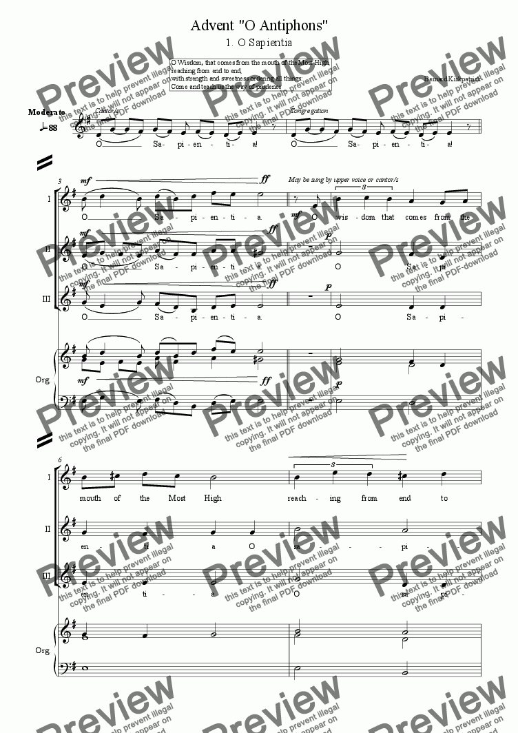 "page one of Advent ""O Antiphons"" [No.1 O Sapientia] -sheet music"