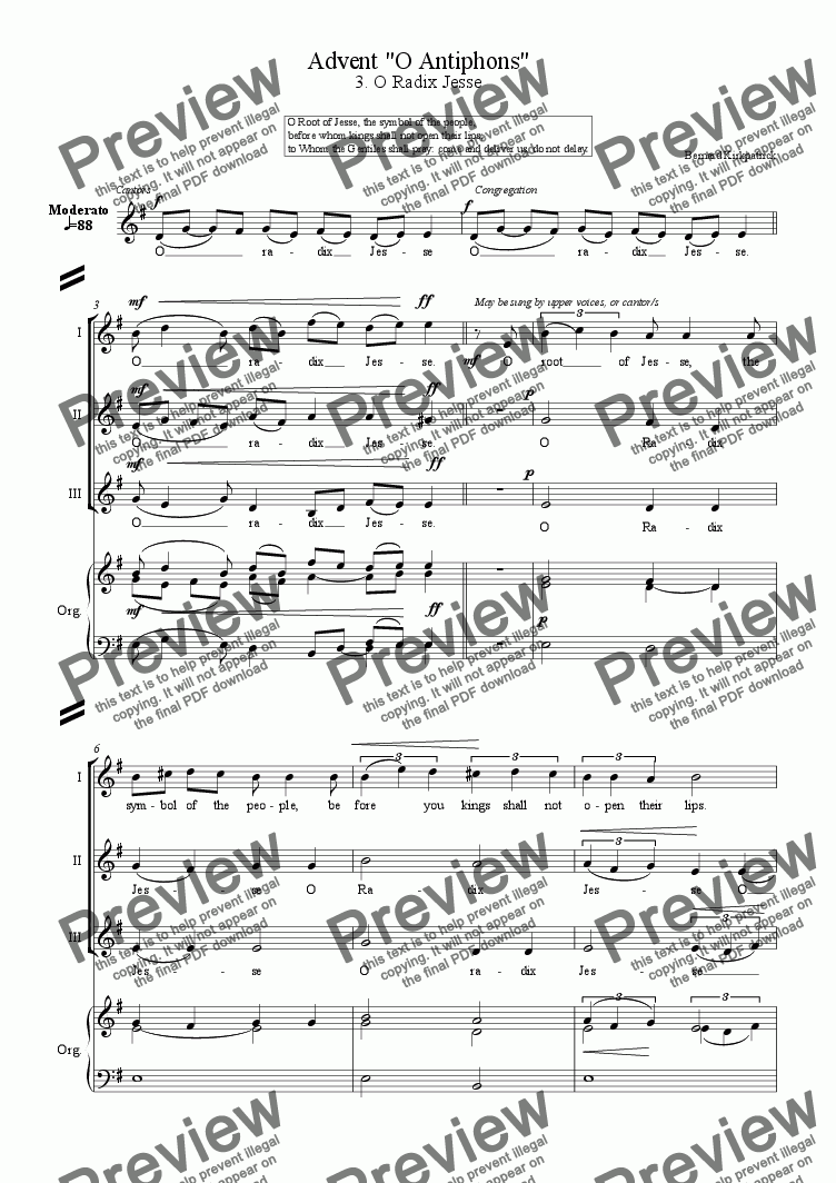 "page one of Advent easy anthem ""O Antiphons"" [No.3 O Radix Jesse]"