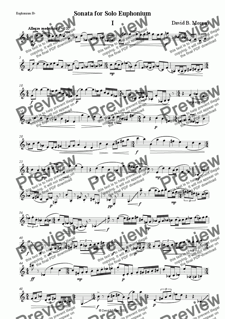 page one of Sonata for Solo EuphoniumASALTTEXT