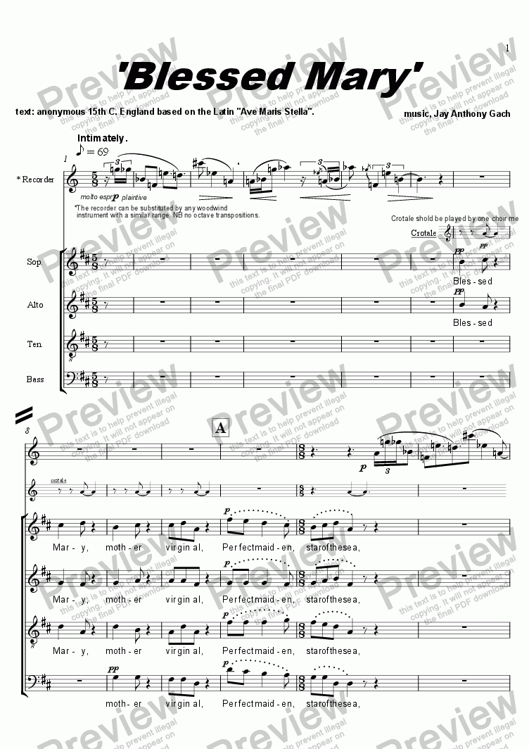 page one of Blessed Mary (satb + recorder)