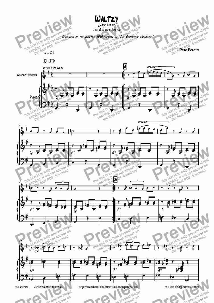 page one of Waltzy [Jazz flute or recorder]