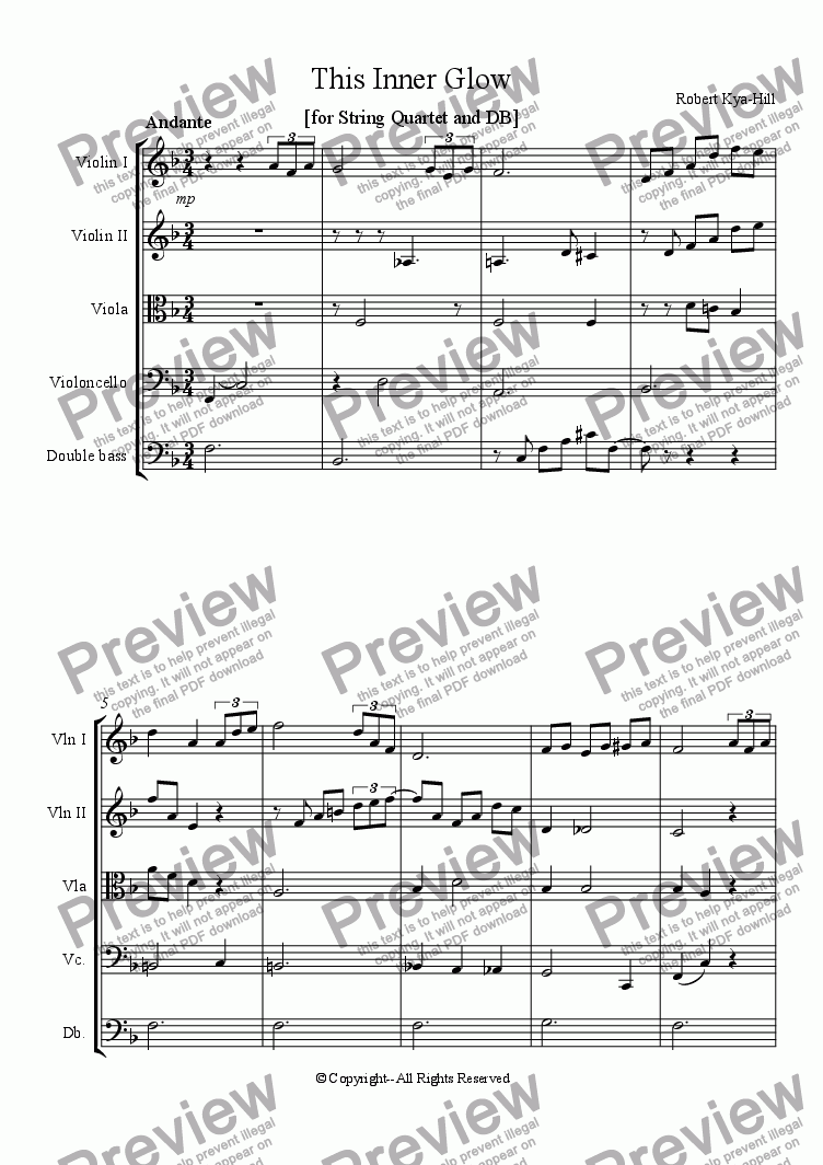 page one of This Inner Glow [String Quartet and DB]