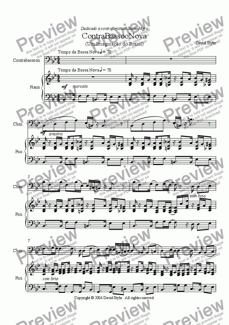 page one of ContraBassooNova for Contrabassoon and Piano